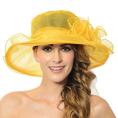 Women's Sheer Wide Brim Sun Party Church Wedding Floral Organza Hat(Yellow) ()