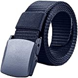 Navy Blue Canvas Belt With Non Metallic Plastic Buckle