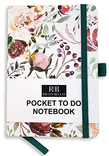 RICCO BELLO Hardcover Banded Pocket to Do List Notebook, Pen Loop, Bookmark, 4.25 x 6 in. (Blossoms)