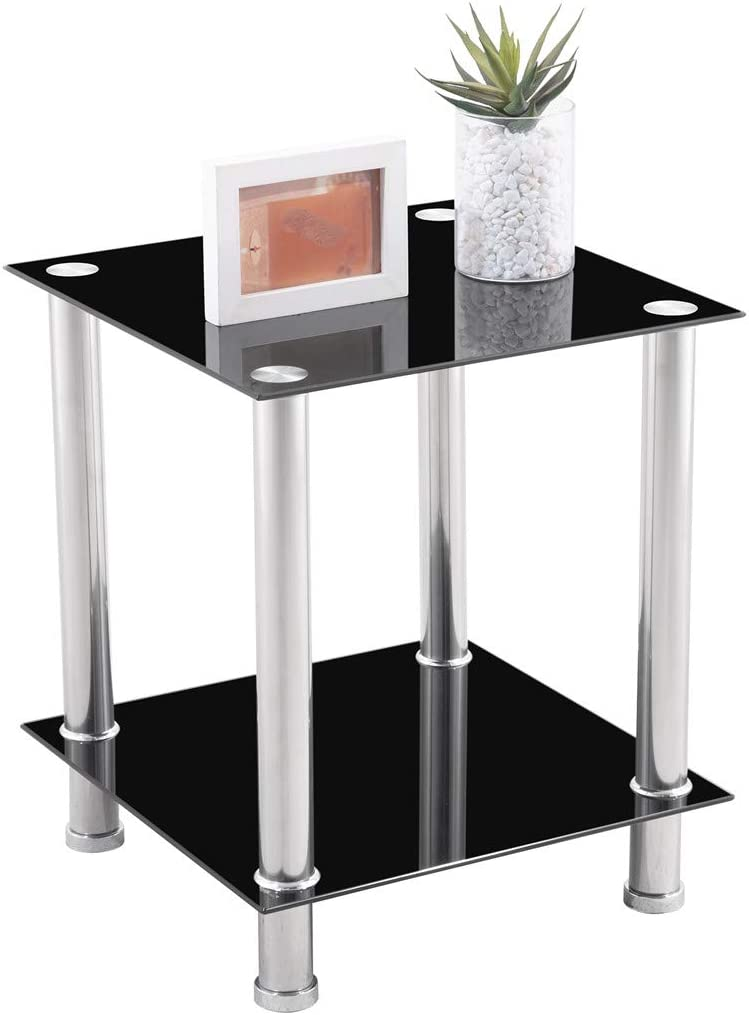SSLine 2 Tiers End Table Tempered Glass Bedside Table, Corner Table with Stainless Steel Frame, Multi-Function Coffee Table for Living Room, Bed Room Or Dining Room, Black