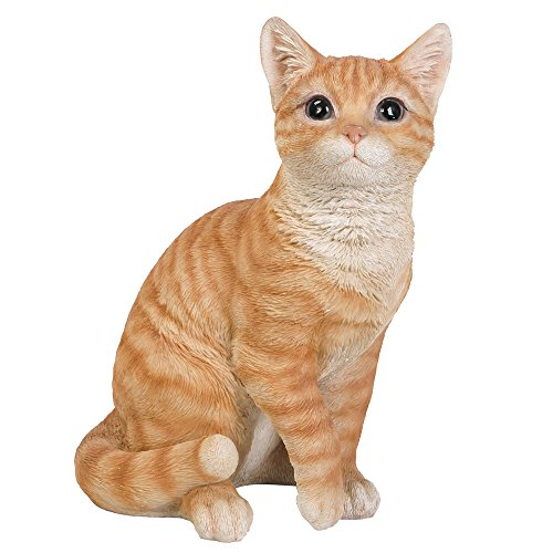 Pacific Giftware Realistic Looking Orange Tabby Cat Kitten Collectible Figurine Amazing Detail Glass Eyes Hand Painted Resin 12 inch Figurine Perfect for Cat Lover Collectible