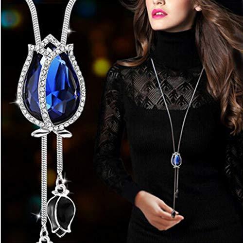 Teardrop Crystal Pendant Necklace Earrings Set Wedding Bridal Necklace Dangle ()
