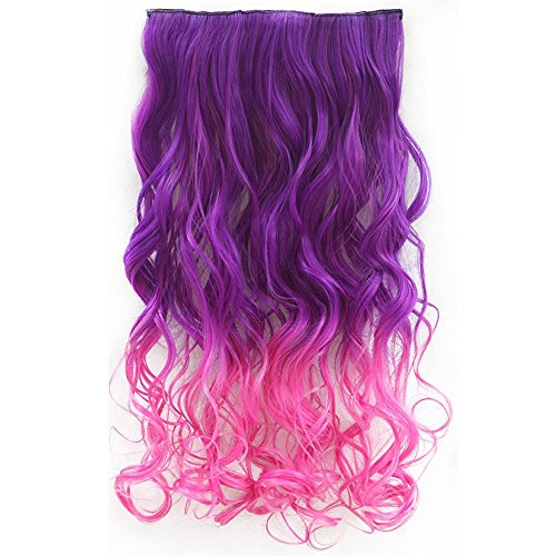 RightOn 21'' Mixed Color One Piece Long Curly Wavy Synthetic Thick Hair Extension Clip-On Hairpieces (Dark Purple to Rose Red)