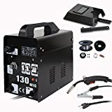 Super Deal Black Commercial MIG 130 AC Flux Core Wire Automatic Feed Welder Welding Machine w/ Free Mask 110V (MIG 130 110v Black)