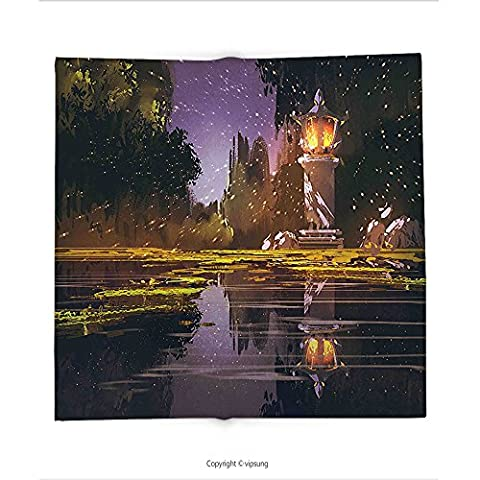 Custom printed Throw Blanket with Landscape Idyllic Scenery at Night with a Stone Lantern Fireflies and Forest Trees Swamp Multicolor Super soft and Cozy Fleece (Earth To Earth Swamp Thing)