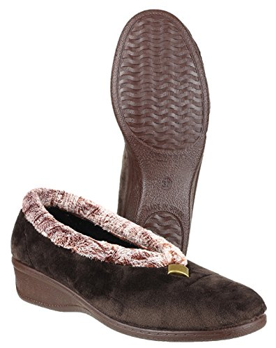 Cotswold Ladies Broadway Cozy Faux Fur Collared Slippers Brown Brown 2MNjvziM7
