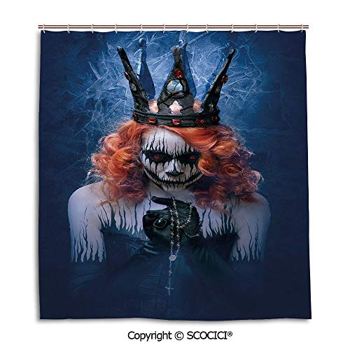 SCOCICI Simple Bathroom Curtain Personality Privacy Convenience,66X72in,Queen,Queen of Death Scary Body Art Halloween Evil Face Bizarre Make Up Zombie,Navy Blue Orange Black,Used for Bathing Privacy]()