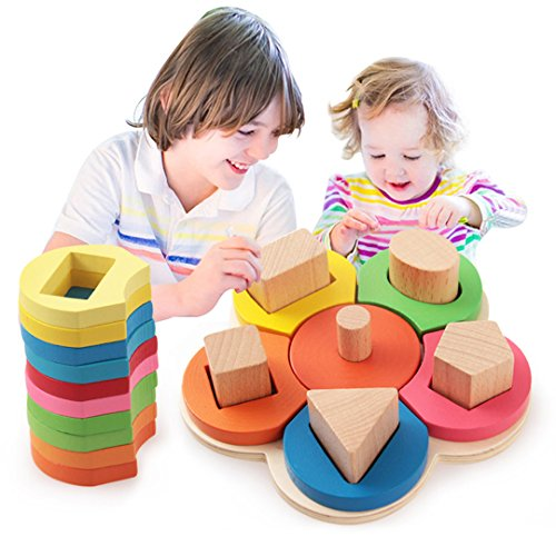 BabyPrice WOODEN FLOWER---Sorting & Stacking Blocks Shape Color Learning Toy Geometric Board Block Toys Early Development Toys for Kids Boys Girls (Plan Toys Shape)