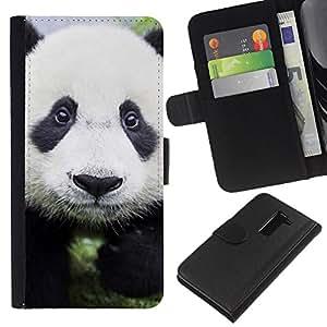 KLONGSHOP // Tirón de la caja Cartera de cuero con ranuras para tarjetas - Bebé lindo de la panda - LG G2 D800 //