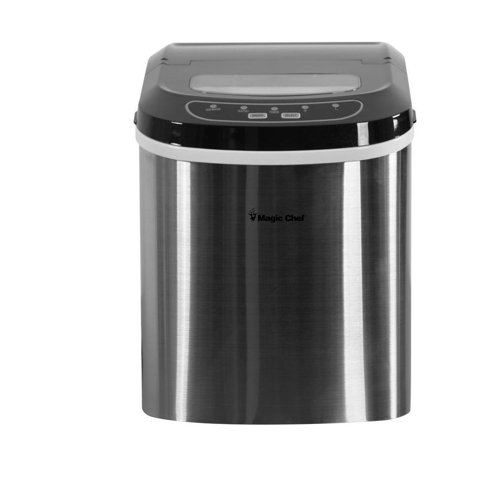 Magic Chef HMIM27BST 27lb Portable Countertop Ice Maker - Black Stainless