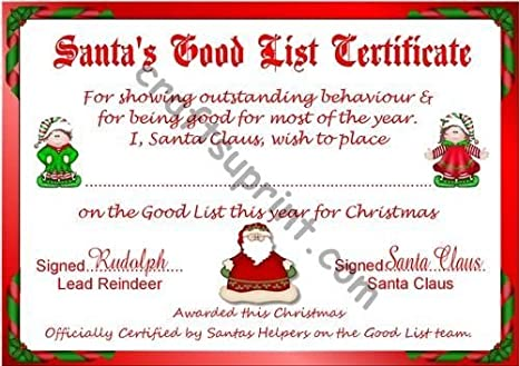 Santas Good List Certificate By Lorraine Smith Amazoncouk Kitchen Home