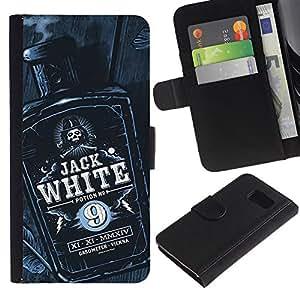 A-type (Jack botella de licor de whisky Negro Blanco) Colorida Impresión Funda Cuero Monedero Caja Bolsa Cubierta Caja Piel Card Slots Para Samsung Galaxy S6