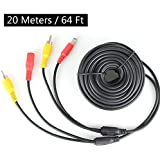 RCA Plug DC 2.1 5.5 MM Power Cord Video AV Extension Cable for CCTV Security Car Tuck Bus Trailer Reverse Parking Backup Camera 20 Meters 66ft by HitCar
