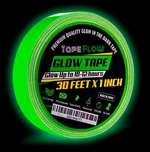 Cinta fluorescente brillante en la oscuridad por flujo de cinta [30 pies de largo x 1 pulgada de ancho] luminoso y...