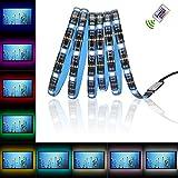 Glückluz Tiras de Luces LED RGB con Mando a Distancia USB Multicolor Retroiluminación,Tiras de LED Kit Completo para Decoración del Partido Fiesta Cocina PC Escritorio Monitor Hogar(2M, 5050 RGB 60 LEDs,24 Tecla IR Remoto)