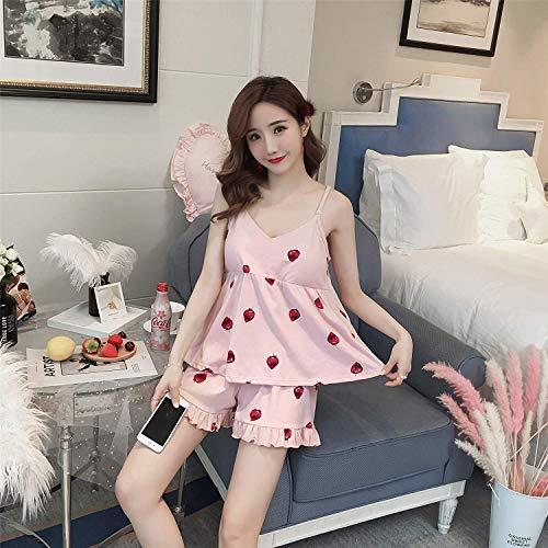 Wangc Arm wärmer Beinstrumpf Mit Brustpolsterband Schlafanzug weibliche Sommer Baumwollshorts Anzug Mädchen weiße Erdbeere V-Ausschnitt Rosa sexy Home-Service