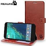 Google Pixel Cover, REALIKE™ {Imported} Premium Leather Shockproof Wallet Flip Case For Google Pixel (Royal Series Brown)