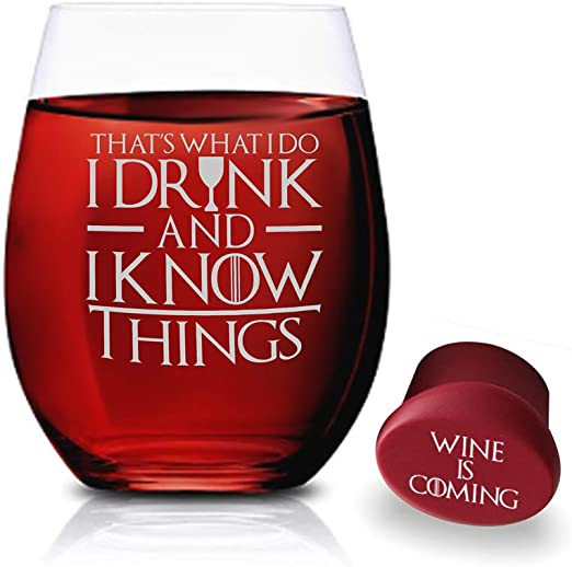 Game of Thrones Wine Glass Gift for Game of Thrones fan Gifts for Him I Drink and I Know Things Etched Stemless Wine Glasses Wine Glass Gifts for Her