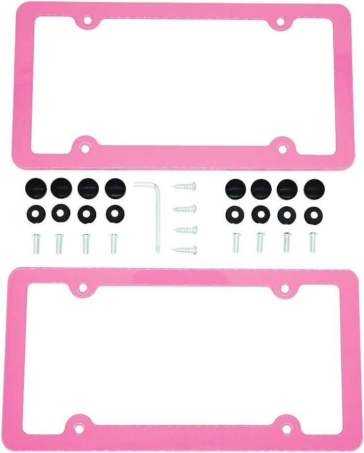 PRETTYGAGA License Plate Frame Pink License Plate Frame Pack of 2