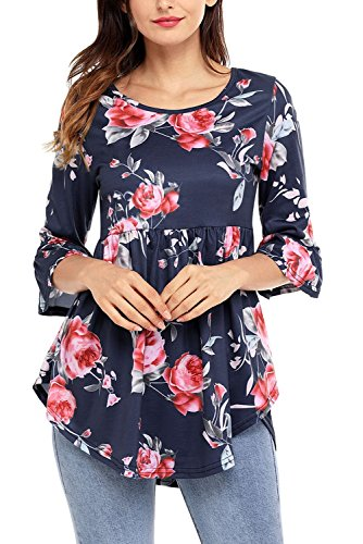 ROVLET Women Casual Floral Print 3 4 Ruffle Detailed Sleeve Tunic Tops Blouses Shirt (S-XXL,6 Colors) ((US 16-18) X-Large, Navy Blue)