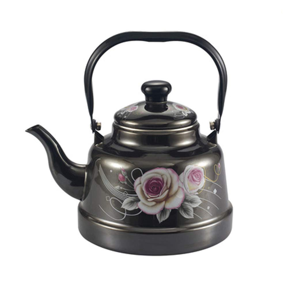 Mcvrv Enamel kettle small mirror glaze white ancient clock teapot induction cooker gas stove universal