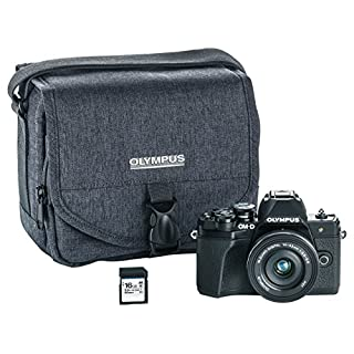 Olympus OM-D E-M10 Mark III camera kit with 14-42mm EZ lens (black), Camera Bag & Memory Card, Wi-Fi enabled, 4K video (Renewed)