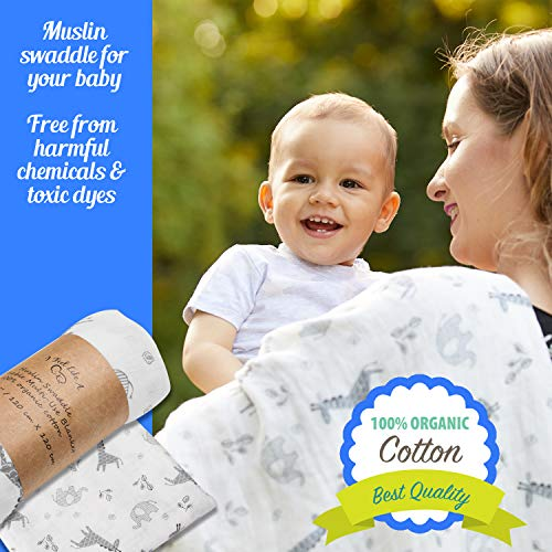 Muslin Swaddle Baby Blanket - Organic Cotton - Large Size - for Swaddling Your Newborn!