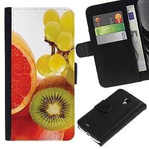 Planetar® Modelo colorido cuero carpeta tirón caso cubierta piel Holster Funda protección Para Samsung Galaxy S4 Mini i9190 / i9195 (Not For S4) ( Fruit Macro Kiwi Grape )