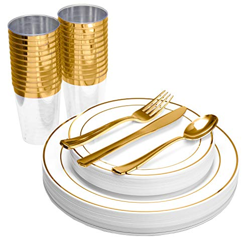 150 Piece Plastic Plates, Silverware & Cups Set - Bulk Gold Rim Dinner & Salad Disposable Plates, Cups, Spoons, Forks & Knives for Wedding or Party