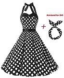 BI.TENCON 1950s Halter Style Vintage Black with White Polka Dot Swing Party Dress S