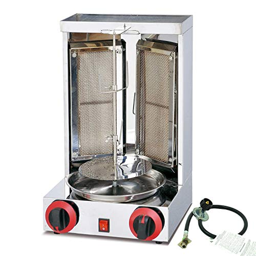 Aistan SB25 Barbecue Propane Gas Turkey Doner Kebab Machine Shawarma Roasters Rotisserie Ovens Gas Two Burners with US standard Propane gas tank connection