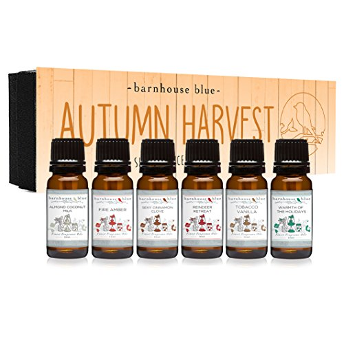 Autumn Harvest Gift Set of 6 Premium Fragrance Oils - Almond Coconut Milk, Fire Amber, Sexy Cinnamon Clove, Reindeer Retreat, Warmth of The Holidays, Tobacco Vanilla - Barnhouse Blue
