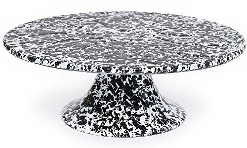 Enamelware Cake Stand - Black Marble (Stand Black Cake White And)