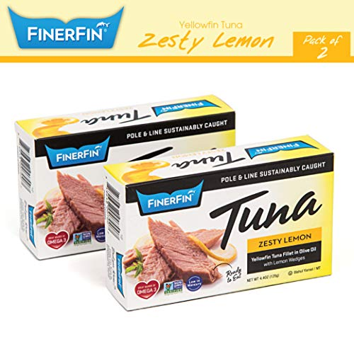 FinerFin Yellowfin Tuna In Organic Olive Oil – Zesty Lemon Flavor (4.4oz can - 2 Pack); Premium Canned Tuna Fish with Extra Virgin Olive Oil, Ready-to-Eat Gourmet Tuna Fillet, Wild-Caught