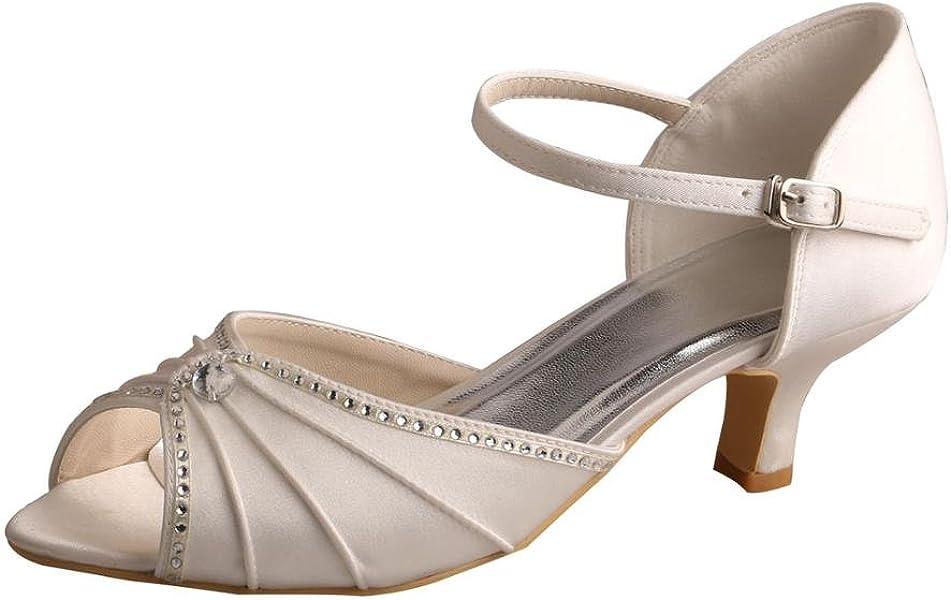 aaad30f5f9f MW033B Women's Peep Toe Mary Jane Low Heel Pleated Rhinestones Satin  Wedding Prom Shoes Size 5 Ivory