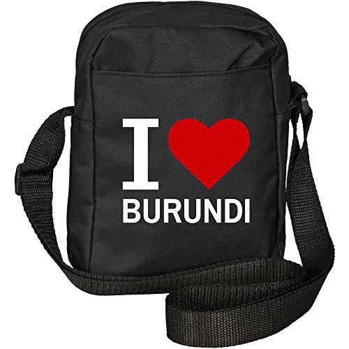 Umhängetasche Classic I Love Burundi schwarz