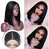 Cheap 100% Remy Hair U Lace Wig Deep Invisible Part Lace Front Wigs Bob Cut Glueless Pre Plucked Shoulder Length Straight for Black Women Clear Hairline Natural Black (12inch #1B)