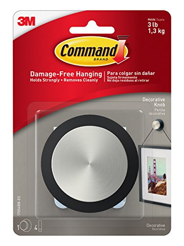Command Picture Hanging Knob, Square, 1-Hook, 4-Medium Strips