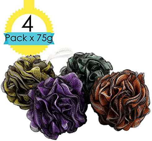 JCMASTER Bath Sponge Pouf, 75g Large Mesh Exfoliating Shower Pouf, 4 Pack