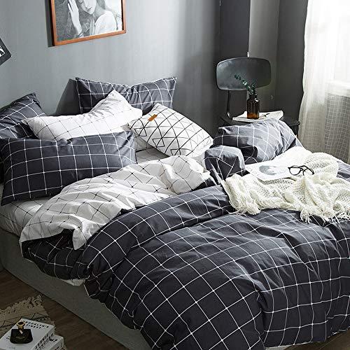 (VM VOUGEMARKET Grid Duvet Cover Sets Queen,100% Cotton Charcoal Gray Bedding Set.Reversible Checkered Comforter Cover Sets for Men-Queen,Grid)