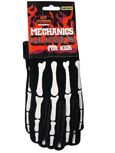 Motorcycle Skeleton Skull Biker Mechanic Gloves Large