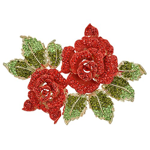 EVER FAITH Womens Austrian Crystal Bridal 2 Rose Flower Plant Brooch for Bride, Women, Sister