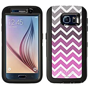 Skin Decal for Otterbox Defender Samsung Galaxy S6 Case - Chevron Grey Plum Pink White