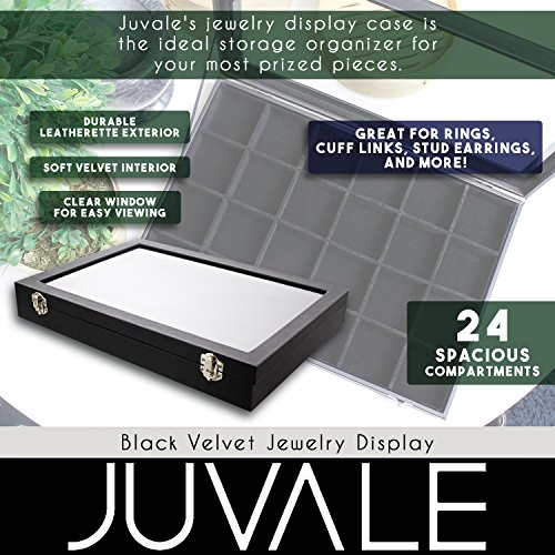 Black Velvet Jewelry Display - Storage Tray Organizer for rings, Cuff Links, Stud Earrings - 14'' by Juvale (Image #3)