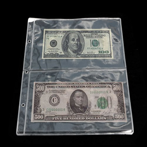 Yeahii Album Pages 2 Pockets Money Bill Note Currency Holder Storage Collection 1 Sheet