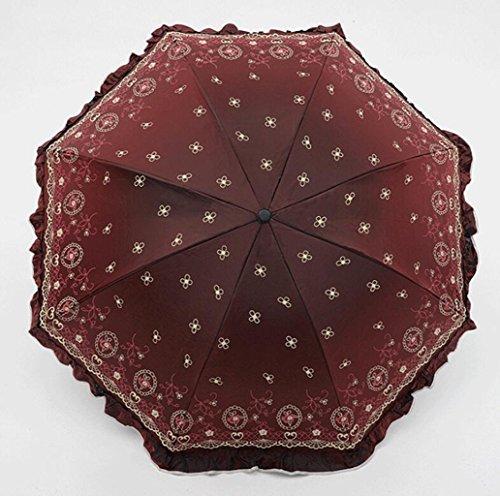 (Sucastle Chameleon, Vinyl, Folding, Umbrella, Creative, Rose, Love, Skirt, Princess, Sun umbrella, UV, Rain, Umbrella Sucastle:Colour:Red wine:size:Curvature; 110cm :; handle length 65cm)