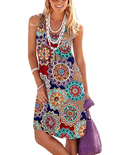 Jouica Womens Summer Plain Causal Loose Flowy T Shirt Beach Party Tank Dress (Round Flower Navy Blue,M)