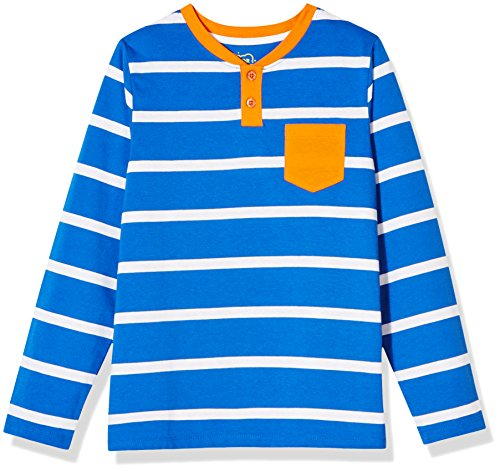 Blue Stripe T-shirt (A for Awesome Boys Long Sleeve Henley Pocket Tee Large Blue Stripe)