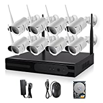 KORANG 8CH 960P Surveillance Wifi NVR Kit System With 1TB Pre-installed HDD 1.3 Megapixel 8 Channel 100Ft Night Vision Waterproof CCTV Wireless Security IP Camera Kit