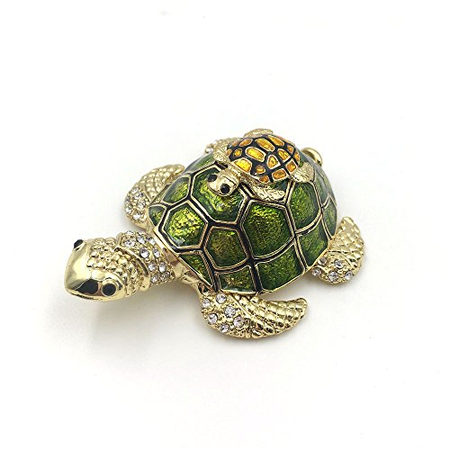 OYLZ Bejeweled Mother and Baby Turtle Jewelry Trinket Box with Crystals Green Color Bejeweled Turtle